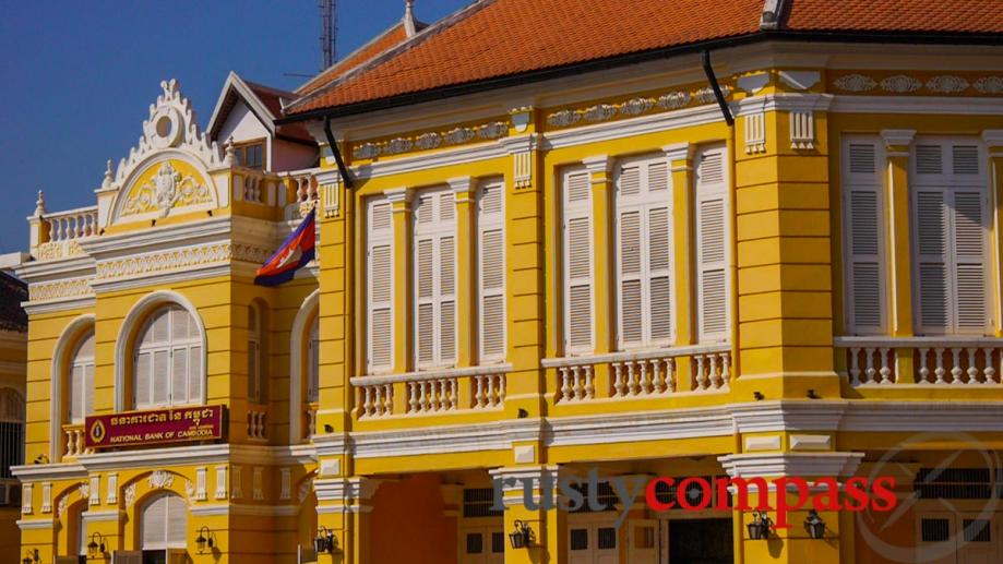 Spruced up colonial buildings in downtown Battambang.
