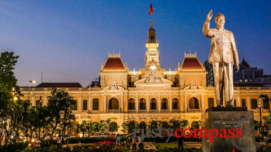 Ho Chi Minh greets visitors to the city that carries...