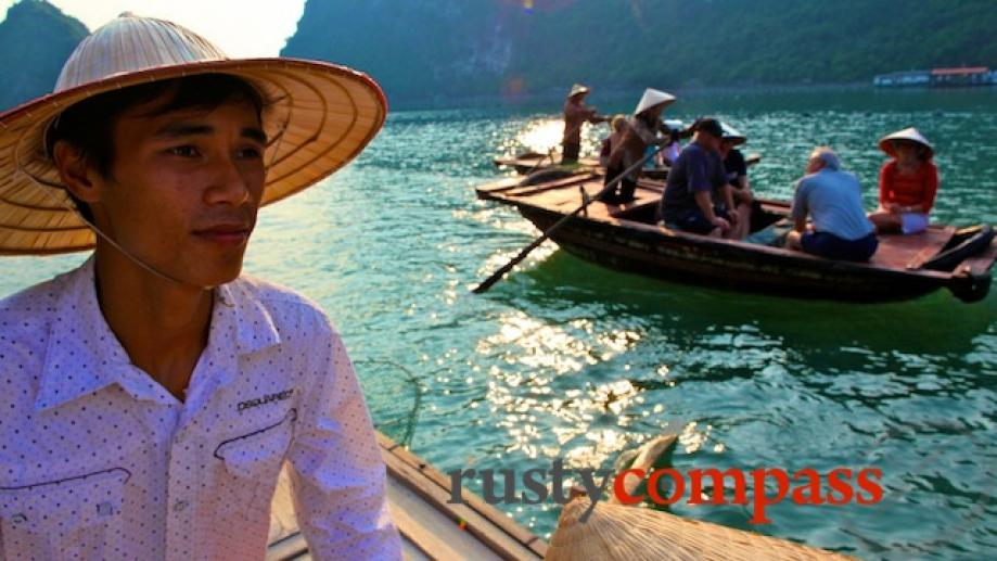 Row boat trip, Halong Bay