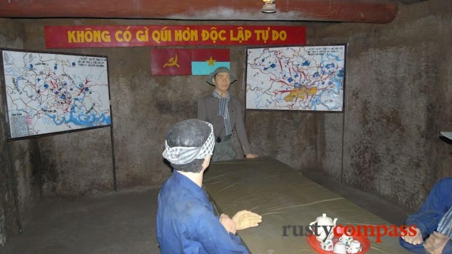 Viet Cong underground meeting room.The banner in the background carries...