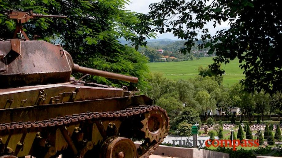 French tank overlooks the current Viet Minh Cemetery from Eliane...