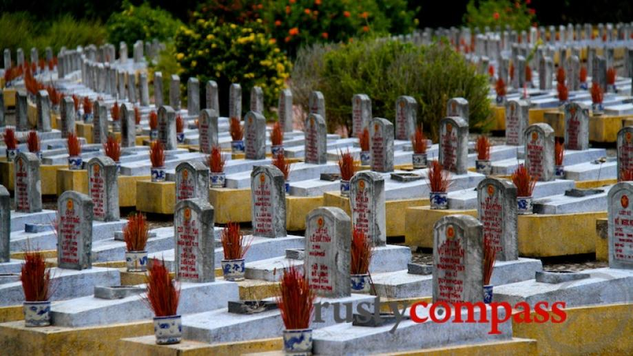The massive Truong Son Cemetery is a stark monument to...