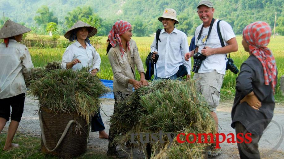 Having a chuckle with the locals. Mai Chau.