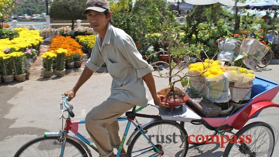 Delivering flowers by cyclo.