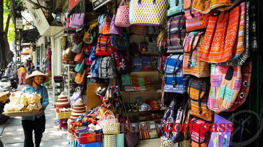 Tourist shops also abound in Hanoi's Old Quarter.