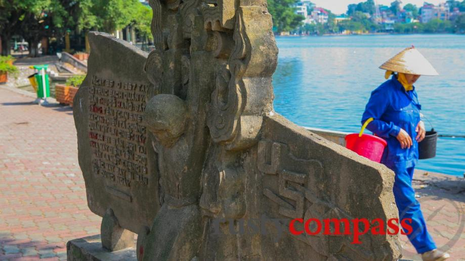 This monument marks the lake in Hanoi from which John...