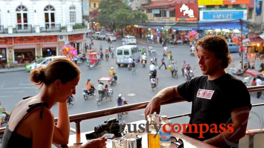 A beer looking over the Old Quarter and Hoan Kiem...
