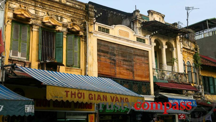 Hanoi's Old Quarter. Take a look above the awnings if...