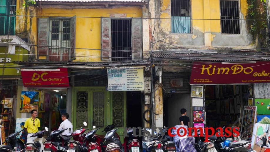 Typical colonial era tube houses in Hanoi's Old Quarter.