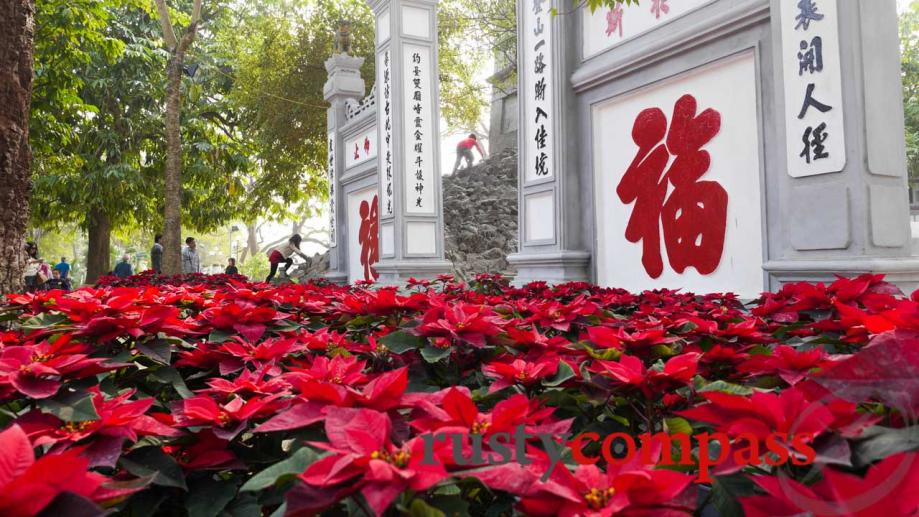 Tet flowers at Ngoc Son Temple on Hoan Kiem Lake.