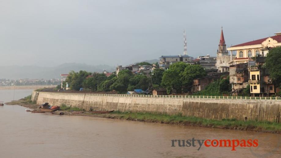 Lao Cai from the French era bridge across the Red...