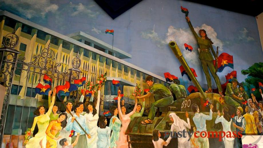 A painting depicts scenes of jubilation in the former Presidential...
