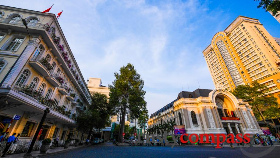 Saigon's historic heart - Continental Hotel, Opera House and Caravelle...