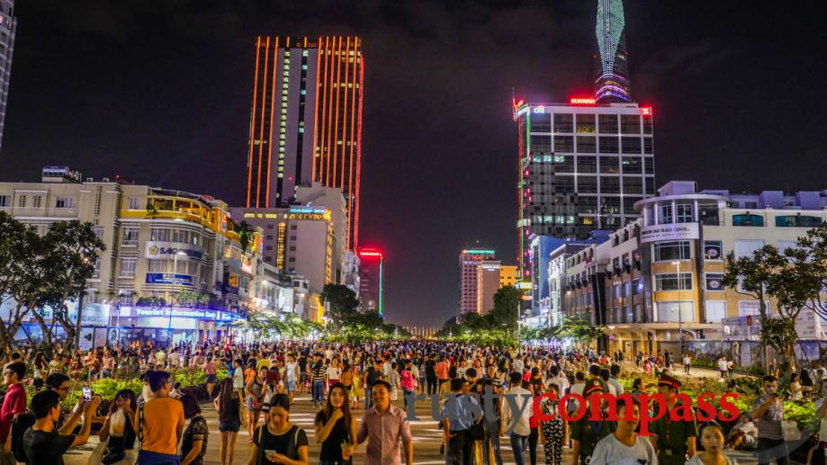 Crowds descend on a new walking space in downtown Saigon...