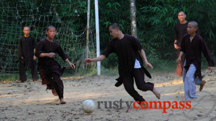 Monks catch some football at Tu Hieu Pagoda, Hue