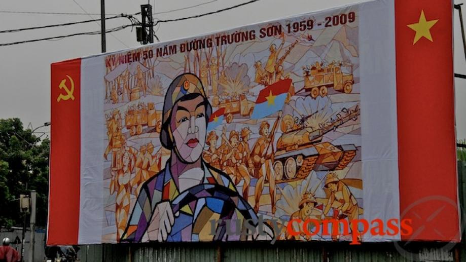 This billboard commemorates 50 years since the founding of the...