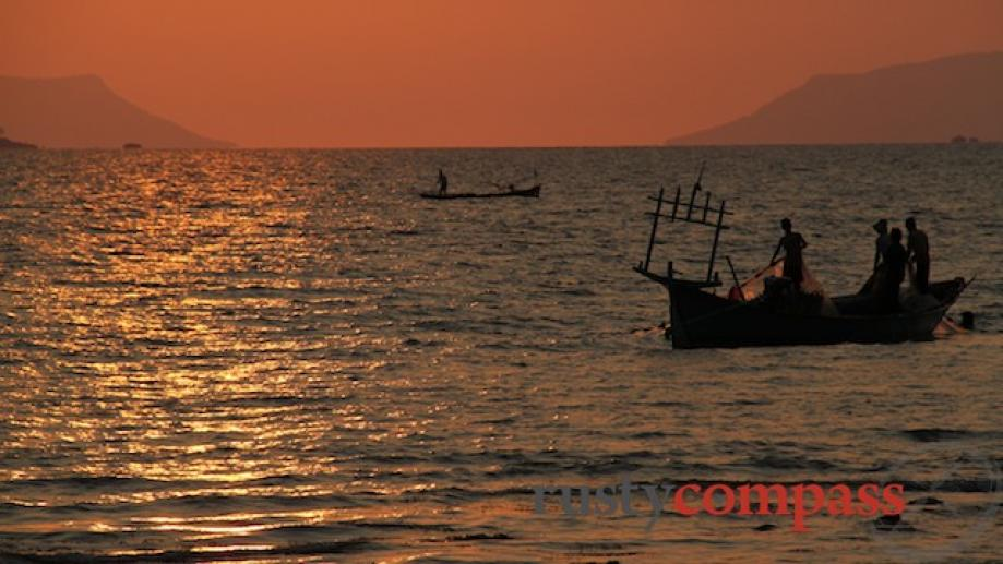 Sunset from the Kep crab market.