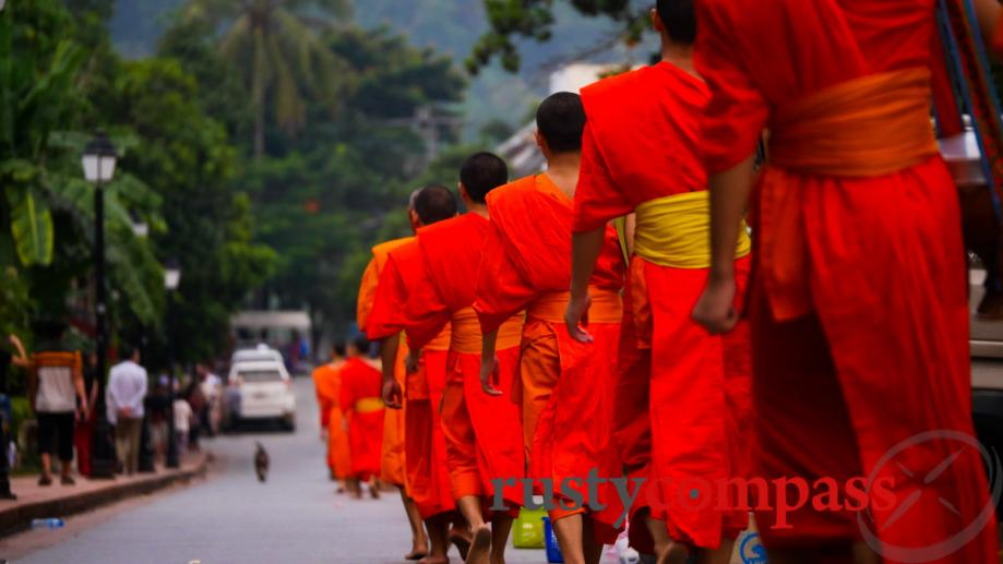 Morning Alms giving, Luang Prabang - known as the tak...