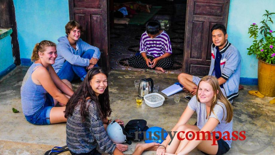 Young French students volunteering at Kon Ktu village outside Kontum.
