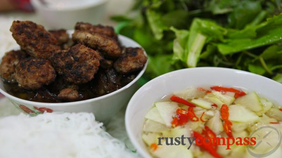 Classic bun cha - a simple dish of noodles (bun),...