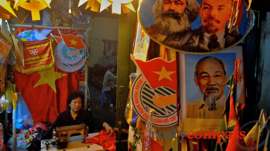Churning out flags and other nationalist paraphernalia. Marx and Lenin still...