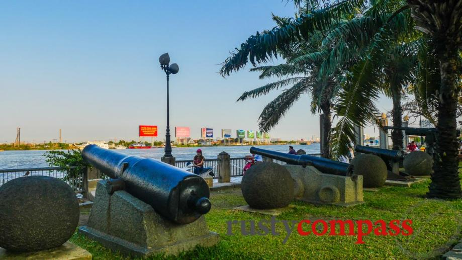 Cannons on the waterfront. Saigon