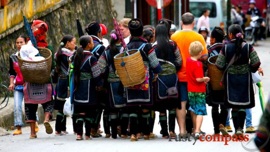 Day 3. A swarm of Black Hmong sellers, many of...