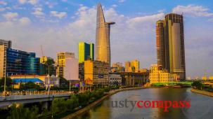 Walking along the Saigon riverfront