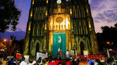 Hanoi's St Joseph's Cathedral lights up