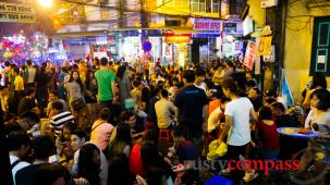 Hanoi's Beer Corner on Saturday night